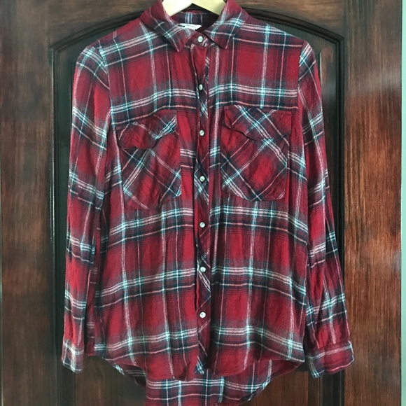 Forever 21 Long Flannel Button Up- Red